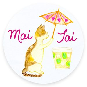 Mai Tai Cats and Cocktails Illustration