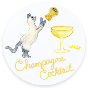 Champagne Cats and Cocktails Illustration