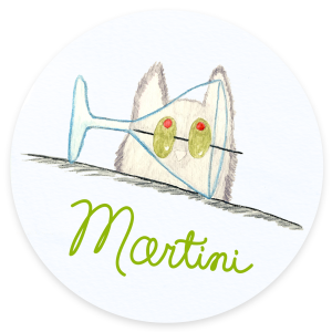 Martini Cats and Cocktails Illustration