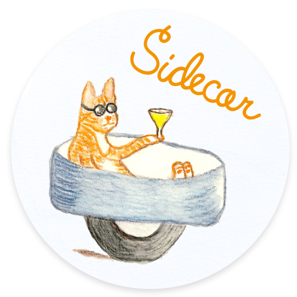 Sidecar Cats and Cocktails Illustration
